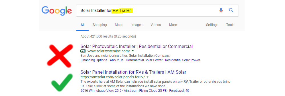 Solar Installer for RV Trailer Google Search AdWords