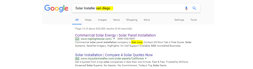 Solar Installer San Diego But Ad for San Jose