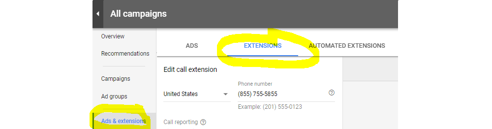 Ad Extension Calling in AdWords