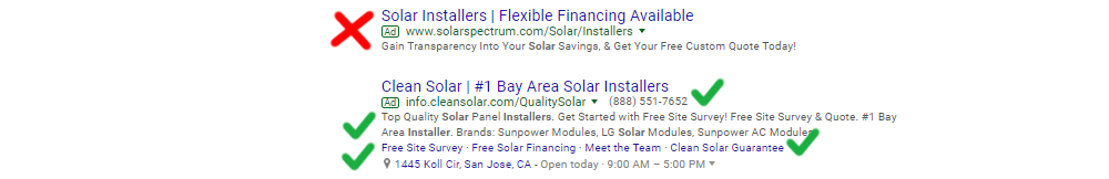 Sample Great and Meh AdWords Ads