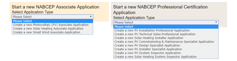 NABCEP certification options
