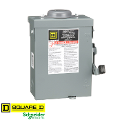 SQUARE-D DU221RB AC Disconnect, NEMA3R, 30A 240VAC,2-Pole UF