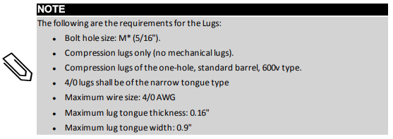 Requirements for lugs