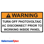 HELLERMANN TYTON Pre-Printed Solar Label, AC DISCONNECT WARN