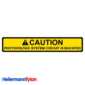 HELLERMANN TYTON Solar Label CAUTION:PV SYSTEM BACKFED Qty1